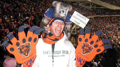 Bears fan Adam Goldstein at a NFL game