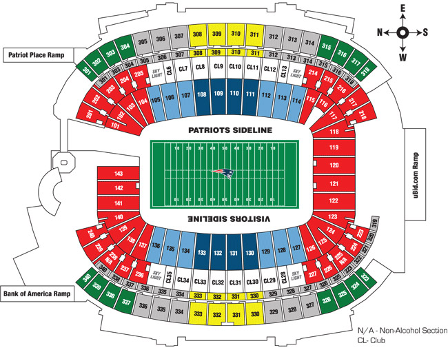 Gillette Stadium Seating Map gillette stadium seating chart | Touchdown Trips