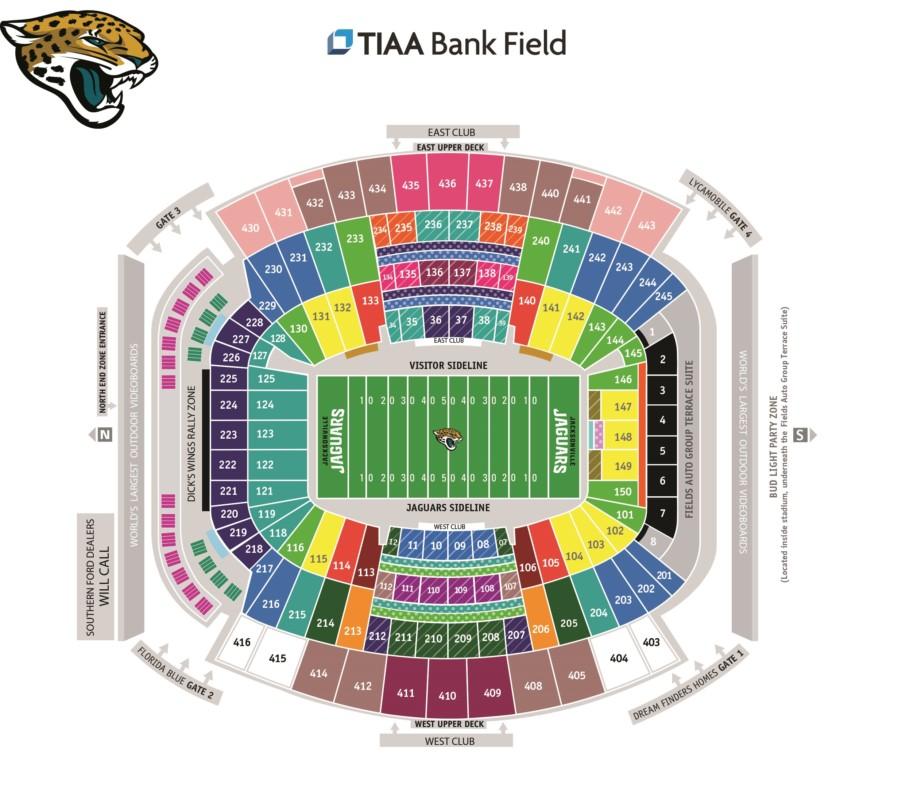 Touchdown Trips   Jacksonville Jaguars   TIAA Bank Field Seating Chart