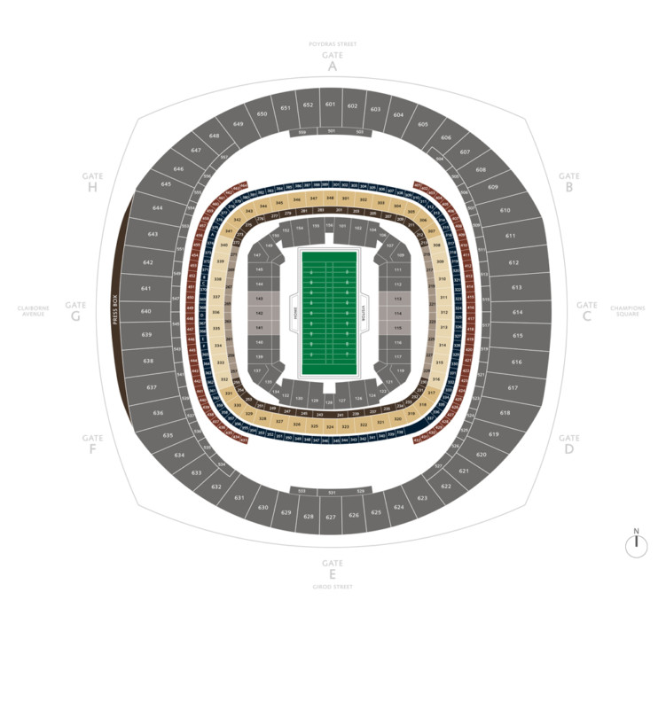 Touchdown Trips | New Orleans Saints | Mercedes-Benz Superdome Seating Chart