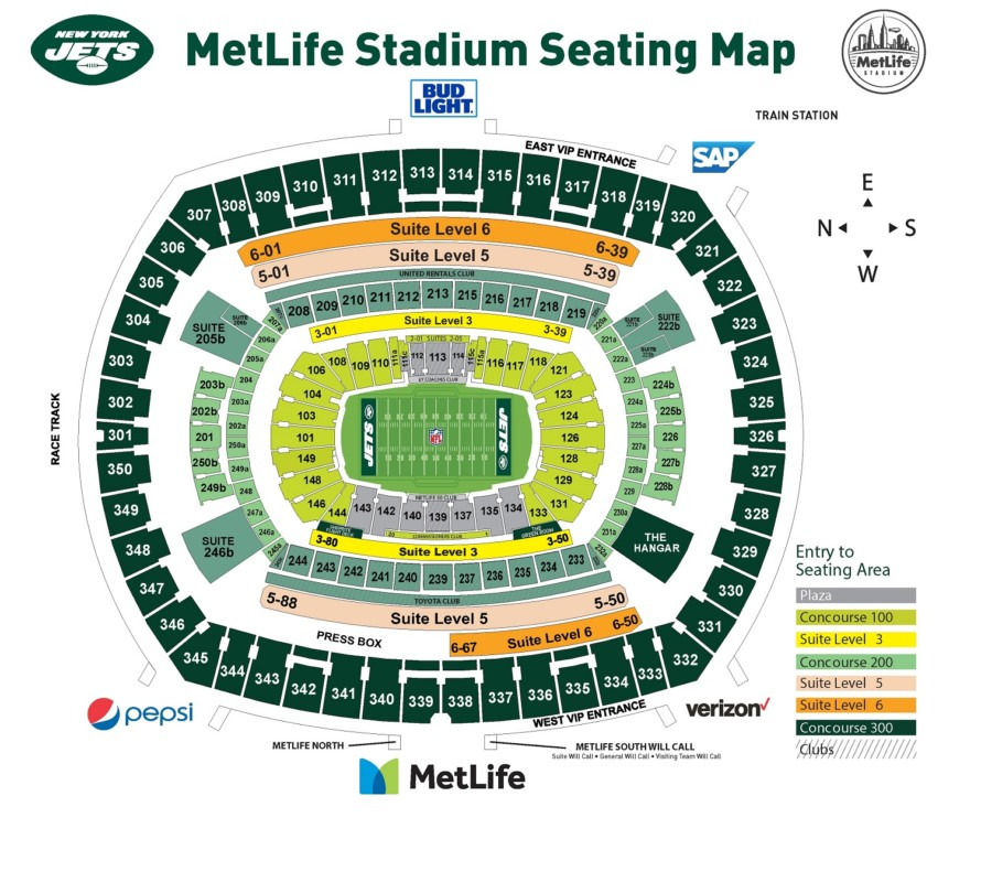Touchdown Trips | New York Jets | MetLife Stadium Seating Chart